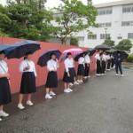 雨のあいさつ運動